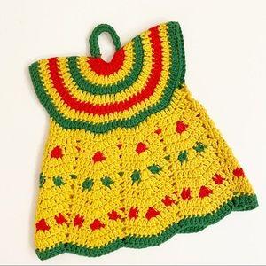 Vintage Pot Holder Trivet Crocheted Dress Fiesta